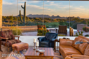 Floor to ceiling glass facing Troon Mountains and Pinnacle Peak