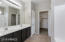 Master Bathroom with Dual Sinks, Water Closet and Walk-In Closet