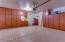 Storage, storage, storage! Garage cabinets with attic access to more storage!
