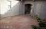 Large flagstone gated courtyard with storage closet