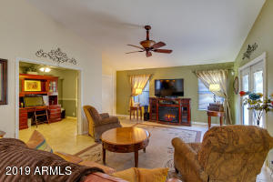 Great-room with vaulted ceilings
