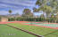 Community sport court for pickleball, basketball and bocci ball court.