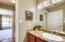 View of guest bathroom, vanity area.