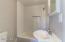 Casita has full bath with subway tile backsplash
