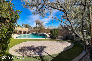 Separate brick paver patio with faux turf for easy maintenance and lower water consumption
