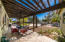 Lengthy patio with xeriscape landscaping and large trees.