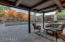 Covered patio with mountain view all day and night