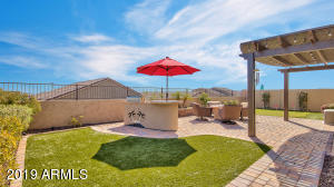 Designer backyard with artificial turf