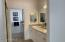 Private access from master bedroom to beautiful master bath with new granite, tile and cabinets