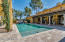 POOL WITH SPA, WATERFALL FEATURES, TRAVERTINE DECK