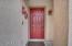 A classic red front door