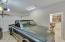 2 car garage with Epoxy floor and storage cabinets.