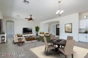 Virtual Staging Kitchen view to Great Room/Front Foyer. Gives you an idea furnished, although this is very open space so please note the area is quite large comp to the picture.