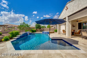 ITALIAN TRAVERTINE TILE SURROUND SPARKLING POOL & HOT TUB