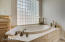 Beautiful glass block wall for the tub area