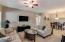 Light, spacious living/dining area