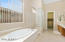 Master Bathroom with Soaking Tub and Separate Glass Block Walk-In Shower