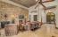 Large family room with beautiful stone work