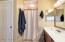 Master dual sinks, shower and toilet closet door