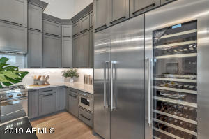 Gas appliances, built in fridge and wine cooler