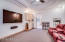 """Theater Room with 102"""" DaLite Projector Screen, Tray Ceiling, Mini-Fridge/Microwave/Sink."""
