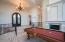 Custom Cantera fireplace and custom Wrought Iron front door
