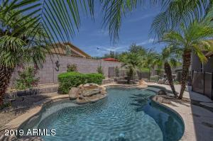 Lush rear yard landscaping, Pebble-Tec pool with waterfall, in-ground cleaning system, removable pool fence, grassy play area and extended covered patio, perfect for parties or everyday enjoyment. Your private Paradise!
