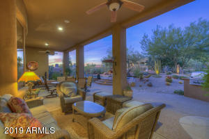 Once again, the landscape lighting throughout the property creates a magical evening outdoors.