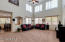 Lots of natural light and soaring ceilings in the living room