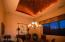 Closer view of the dining room and the dramatic copper gilded recessed ceiling!