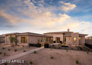 Desert Contemporary Elevation with front yard landscape included