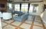 Living room with custom tile work.