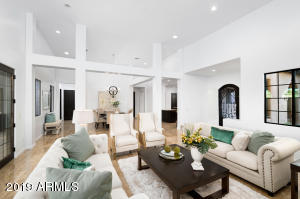 Soaring ceilings, elegant, open floor plan