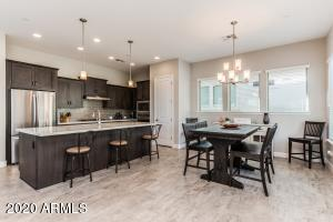 Open kitchen and spacious dinning with lots of natural light