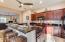Granite, kitchen island with raised chef's bar