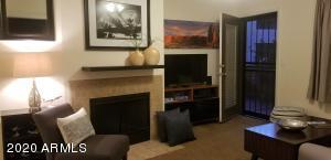 Fireplace in LR with Atrium door to patio & security screen door