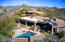 Arial view facing North, overlooking pool, patio, spa.