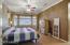 Laminate floor, ceiling fan, bay window