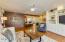 View from Glass Slider into Kitchen & Breakfast Bar