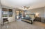 Spacious master suite with exit to patio and views of the Fountain