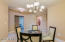 Warm and gracious space for more formal dining.