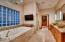 Master bathroom spa tub with heated flooring!