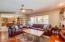 open Floorplan, Family Room to eat in Kitchen.
