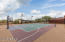 Full size sports lighted sports court with basketball and volley ball