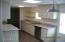 kitchen has a bright sky light