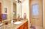 Main Bath; Granite Vanity Counter; Travertine Tile Floors