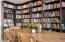 Bookshelves give dining area an interesting feel