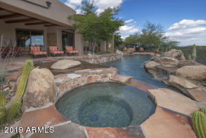 Pool, spa and boulder water feature