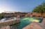 Travertine surround at the pool, spa and patio