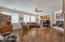 Beautiful Large family Room With Fire Place, Niches and Wood floor